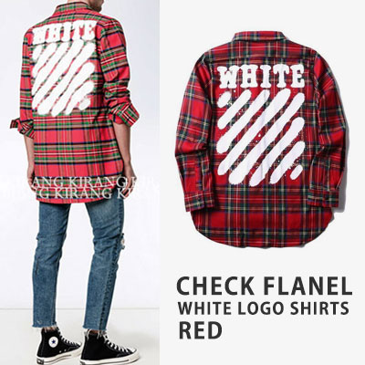 [UNISEX] CHECK FLANEL WHITE LOGO SHIRTS -red