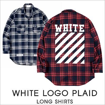 [UNISEX]WHITE LOGO PLAID LONG SHIRTS(2color)