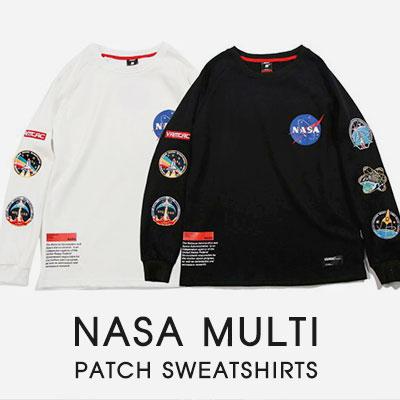 [UNISEX]NASA MULTI PATCH SWEATSHIRTS(2color)