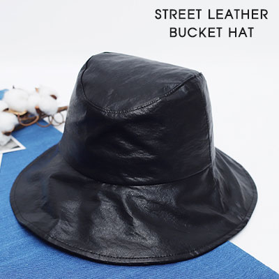 [UNISEX]STREET LEATHER BUCKET HAT(2color)