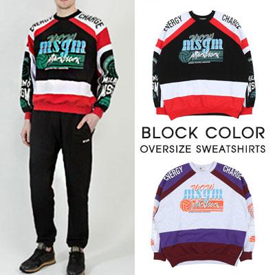 [UNISEX]BLOCK COLOR OVERSIZE SWEATSHIRTS(2color)