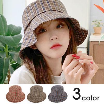 [UNISEX]NATURAL FIT PLAID BUCKET HAT(3color)