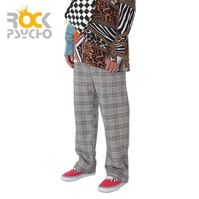 【ROCK PSYCHO】TARTAN CHECK FLEX WIDE PANTS (glen grey)