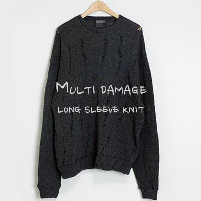 [UNISEX]Rams Wool Multi Damage Knit(2color)