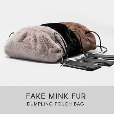 FAKE MINK FUR DUMPLING POUCH BAG(4color)