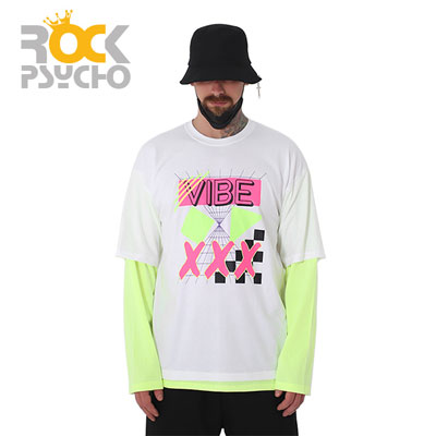 【ROCK PSYCHO】VIBE LAYERD LONG SLEEVE TSHIRTS -white