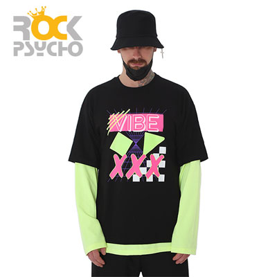 【ROCK PSYCHO】VIBE LAYERD LONG SLEEVE TSHIRTS -black