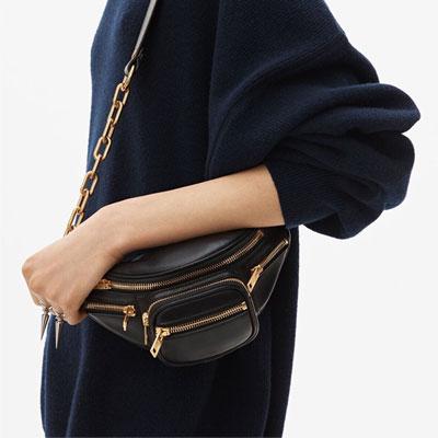 [LAMBSKIN] GOLD LAMBSKIN WAIST BAG/CROSS BAG
