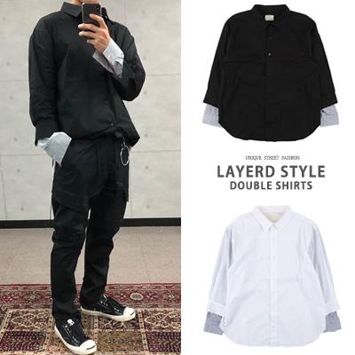 [UNISEX] LAYERD STYLE DOUBLE SHIRTS(2color)