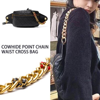 [UNISEX][COWHIDE] BLACKPINK/JENNIE st. POINT CHAIN WAIST /CROSS BAG