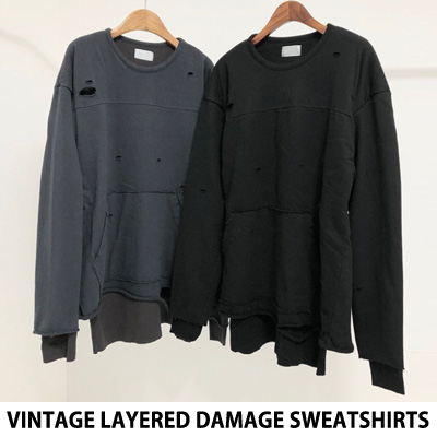 [UNISEX] VINTAGE LAYERED DAMAGE SWEATSHIRTS (2color)
