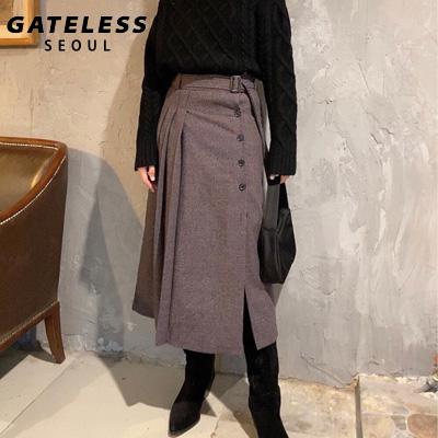 【GATELESS】PLEATS SKIRT SIDE SLIT WOOL SKIRT (2color/2size)