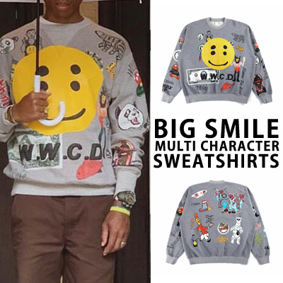 [fleece][UNISEX] BIG SMILE MULTI CHARACTER SWEATSHIRTS