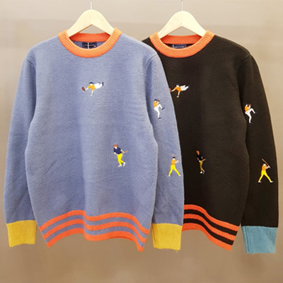 [UNISEX] EMBROIDERY PLAY BALL KNIT (2color)