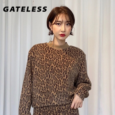 【GATELESS】LEOPARD PATTERN FUR SWEATSHIRTS (2color)