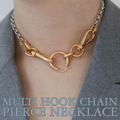 MULTI HOOK CHAIN PIERCE NECKLACE