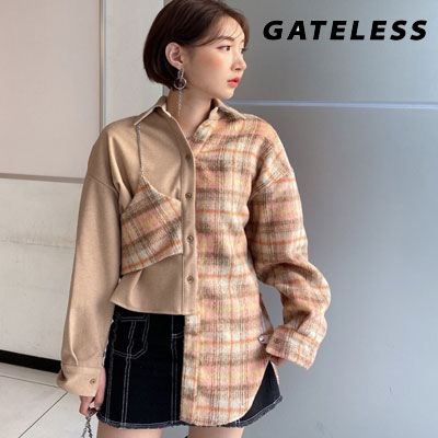【GATELESS】CHECK CHAIN HALF WOOL VEST SHIRTS (2color)