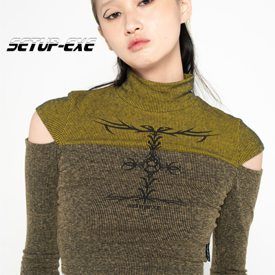 【SETUP-EXE】Highneck slit crop T-shirt - yellow