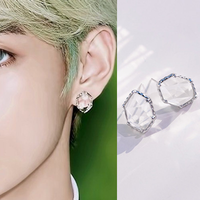 [UNISEX] BTS/V st. HEXAGON CLEAR CUBIC PIERCE (2color)
