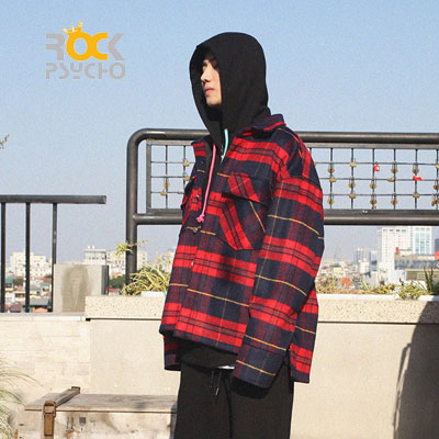 【ROCK PSYCHO】WOOL CHECK JACKET -red