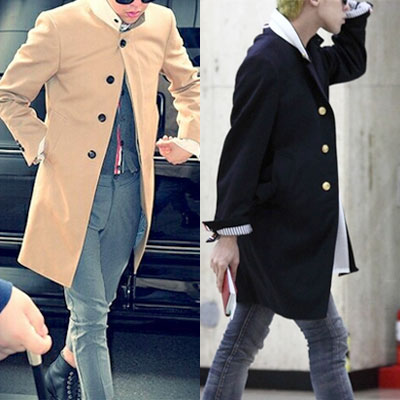 ★PROMPT DELIVERY★[NAVY-XL] SINGLE BUTTON 3COLOR HIDDEN BUTTON COAT/BIGBANG/G-DRAGON/TOP/EXO-copy