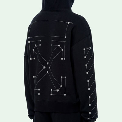 [UNISEX] DOT ARROW BLACK HOODIE