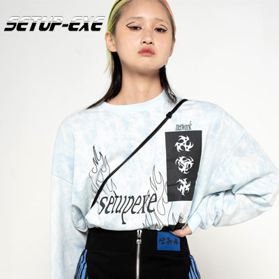 【SETUP-EXE】Fire washing T-shirt - sky blue