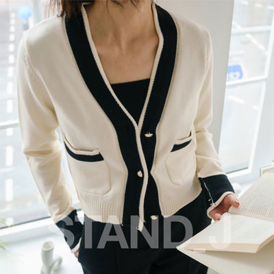 [STAND_J] COMBI CARDIGAN (2color)