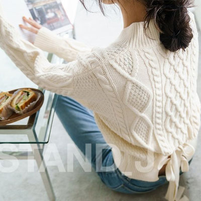 [STAND_J] BACK RIBBON POINT CABLE SHORT SWEATER (4color)