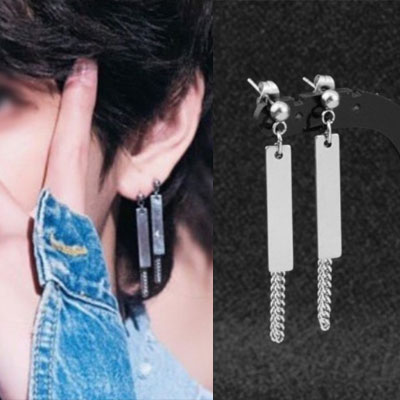 [UNISEX] BTS/V/taetae st.  RECTANGLE BAR CHAIN PIERCE (2type)