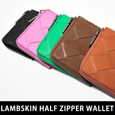 [UNISEX] LAMBSKIN HALF ZIPPER WALLET (5color)