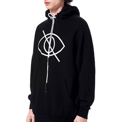 [UNISEX] STRAP LETTERING SINGLE EYE HOODIE (2color)
