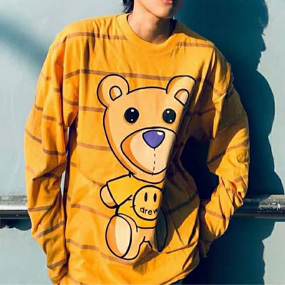 [UNISEX] SMILE CLOTHES BEAR STRIPE LONG SLEEVE (2color)