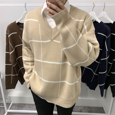 [UNISEX] OVERFIT CHECK V KNIT (4color)