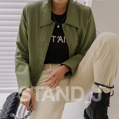 [STAND_J] LEATHER SHORT JACKET (3color)