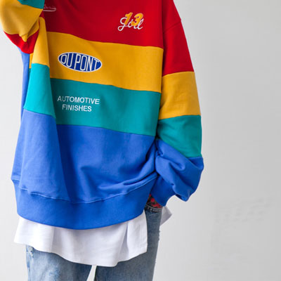 [UNISEX] RAINBOW COLOR PATCH EMBROIDERY SWEATSHIRTS(2color)