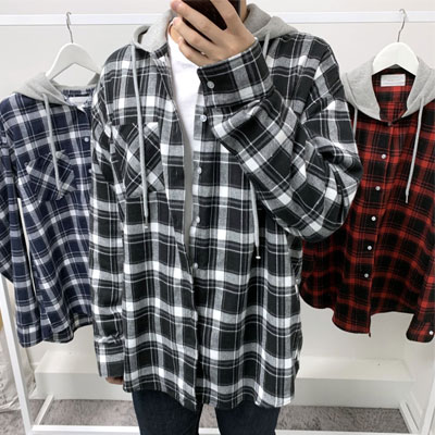 [UNISEX] FLANNEL CHECK HOODIE SHIRTS (3color)