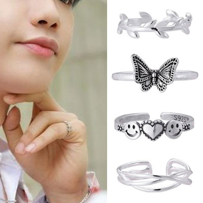 [UNISEX] AB6IX st. 925 SILVER OPEN RING (4type)