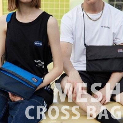 [UNISEX] MESH SIMPLE CROSS BAG (3color)