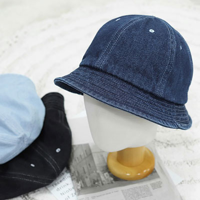 [UNISEX] SHORT DENIM BUCKET HAT (3color)