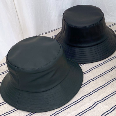 [UNISEX]  ALL LEATHER BUCKET HAT (2color)