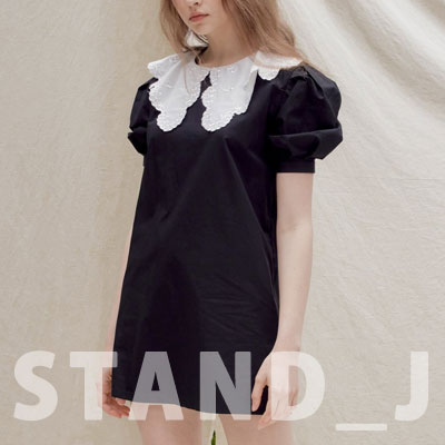 [STAND_J] BIG COLLAR ONE-PIECE (2color)