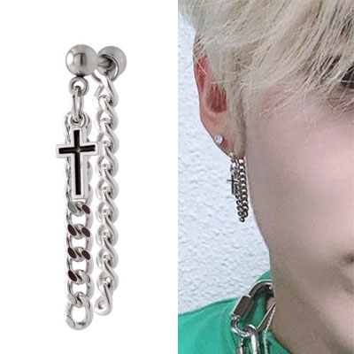 [UNISEX] NCT st. DOUBLE CHAIN CROSS LAYERED PIERCE (3type)