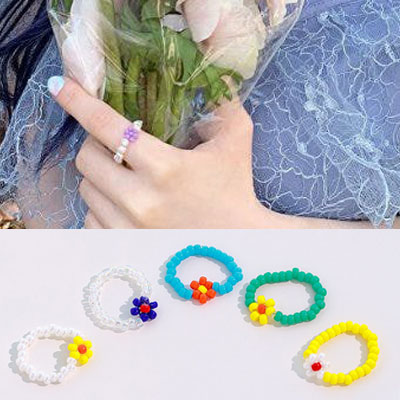 [UNISEX] TWICE st. COLOR BEADS RING (5color)