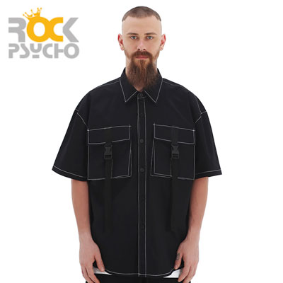 【ROCK PSYCHO】BUCKLE CARGO HALF SHIRTS