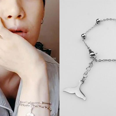 [UNISEX] BTS/SUGA st. DOLPHIN TAIL SURGICAL STEEL BRACELET (2size)