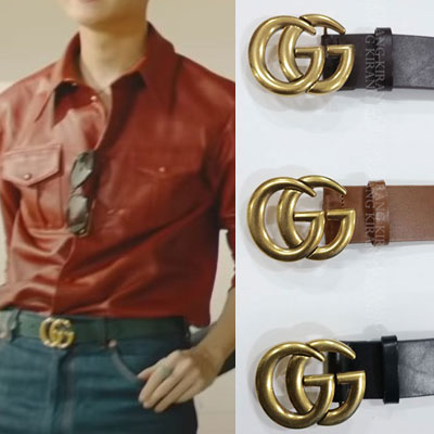 [UNISEX] BTS/Dynamite/ダイナマイト st.  GOLD TWIN LOGO BUCKLE LETHER BELT (3color)