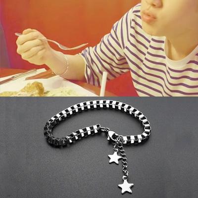 [UNISEX] BTS/Jin/防弾少年団/ジン/Dynamite st. SURGICAL STEEL STAR CHAIN BOX BRACELET