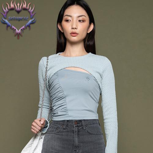 【SETUP-EXE】Knit bolero T set - mint