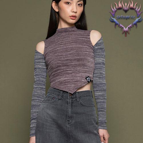 【SETUP-EXE】Shoulder slit T - reddish purple
